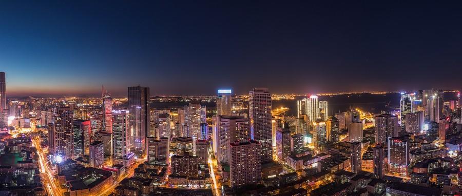 大连东港商务区夜景鸟瞰图