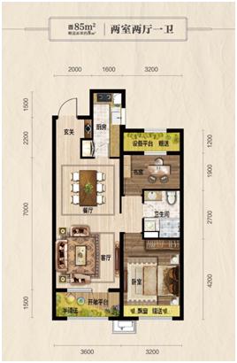 郡源悦城85㎡ 两室两厅一卫户型图