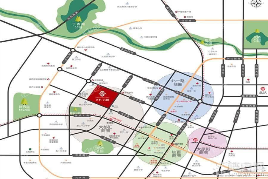 沈阳铁西主城商圈示意图