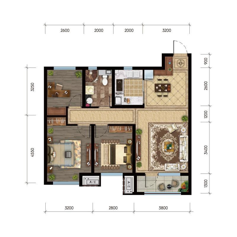 B 建筑面积约98㎡ 三室两厅一卫
