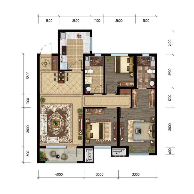 A 建筑面积约120㎡ 三室两厅两卫