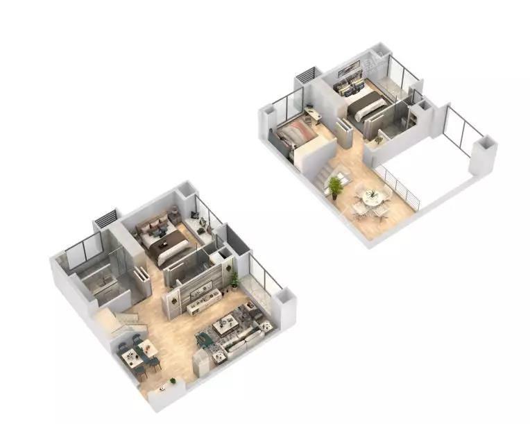 三居室装修3D效果图