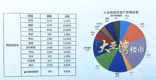 2018年大亚湾成交客户区域分析表